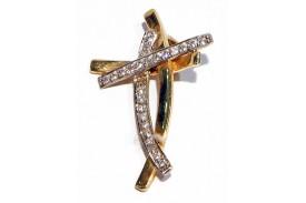 Cruz oro bicolor y zirconita