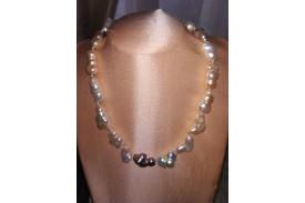 Collar Perlas Cultivadas Barrocas blancas y grises