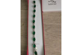 Pulsera Plata verde Esmeralda y circonitas