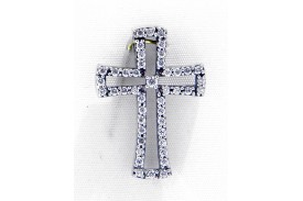 Colgante plata rodiada cruz circonitas