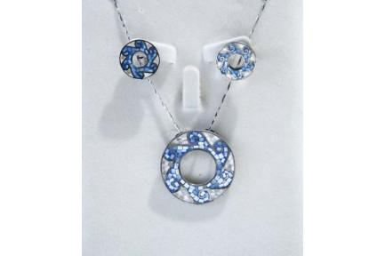 Juego de plata rodio esmaltado azul